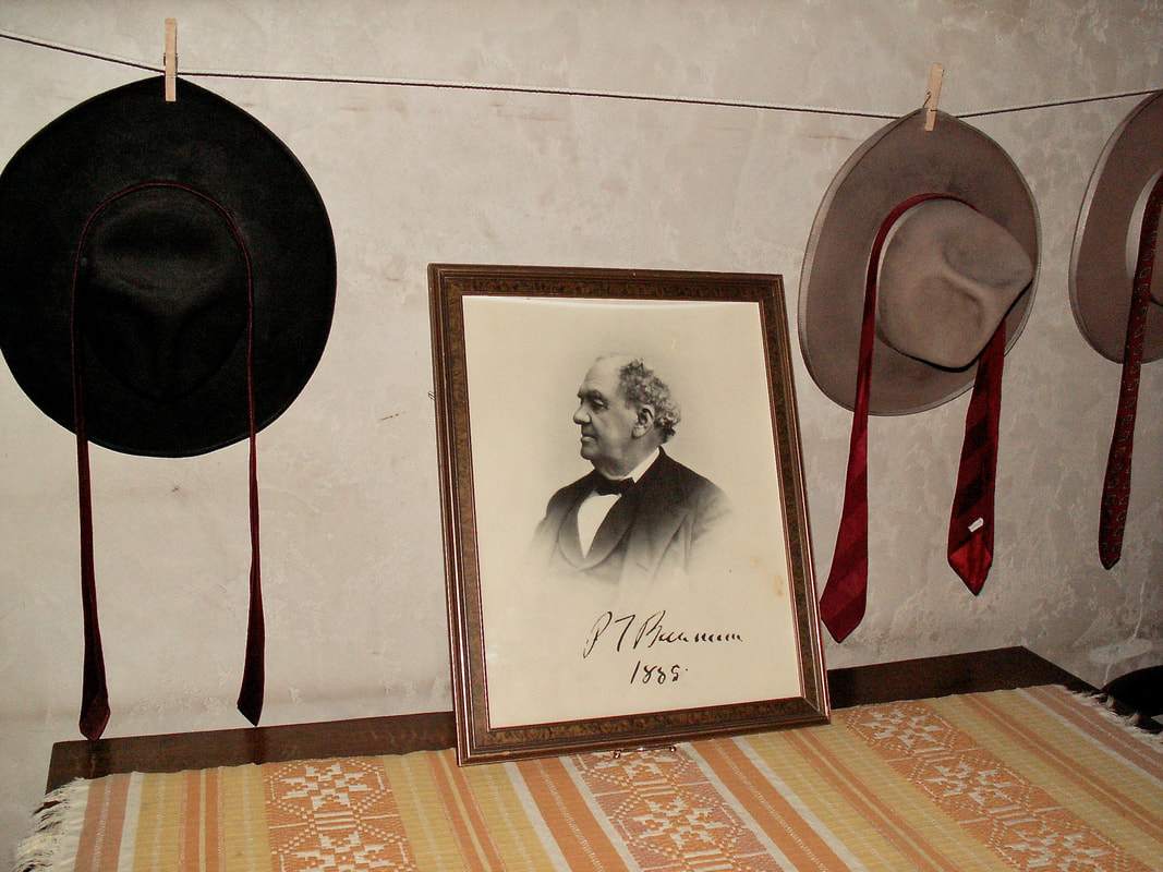 P.T. Barnum photo in Scotty's room with Scotty's hat and ties.